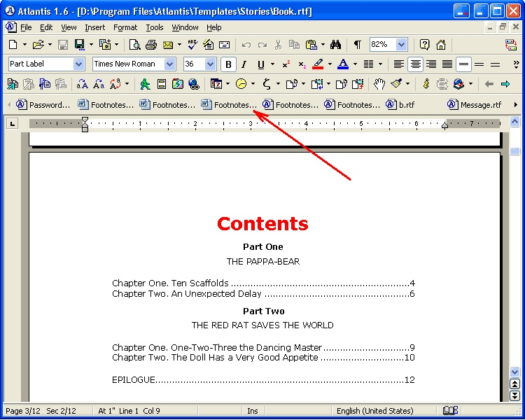 In Microsoft Works word processor, I am trying to type an essay?