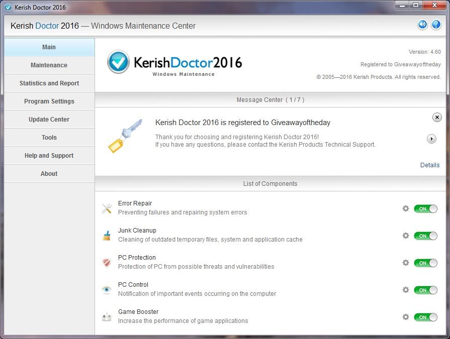 برنامج الصيانة وتصحيح أخطاء النظام Kerish Doctor 2016 4.60 12.09.2016 serials بوابة 2016 d22f1c30f42686c1fd37