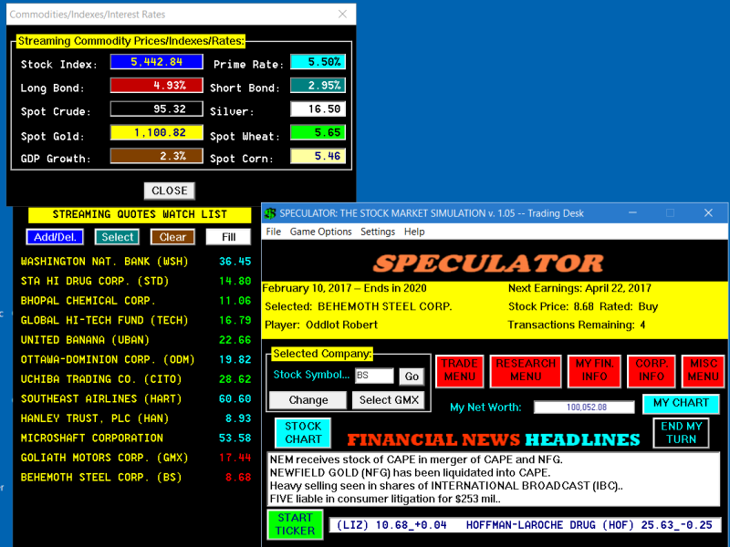 Stock options simulator game
