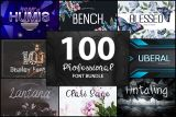 100  Professional Font Bundle Giveaway